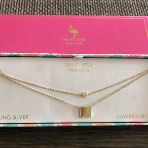 DEVIN ROSE sterling silver double layer necklace